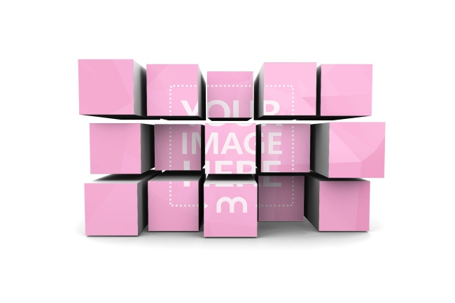 3D box wall cubes image photo effect online