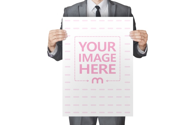 Man Holding A3 Paper Mockup preview image