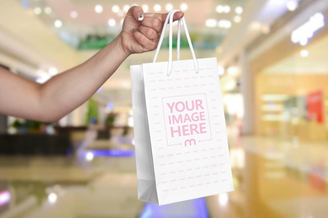 Woman Holding Shopping Bag Mockup preview image