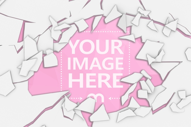 hole in cracked wall online image effect mockup