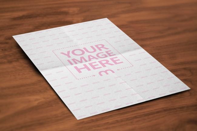 A4 Folded Paper Poster/Flyer Online Mockup