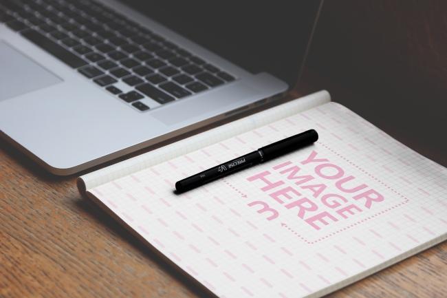 Notebook Paper on Desk Mockup