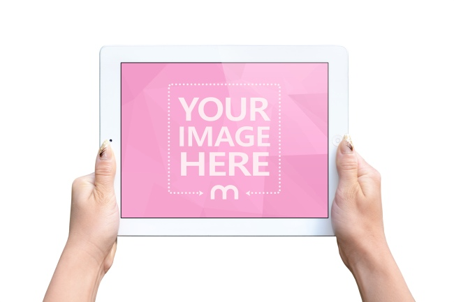 Woman Holding White iPad in Landscape View Mockup preview image