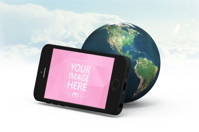 iPhone & 3D Earth Background Mockup preview image