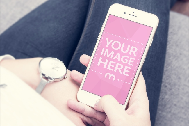 Woman Holding iPhone Online Mockup preview image