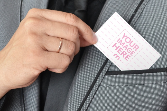 Pulling out a Business Card Mockup preview image