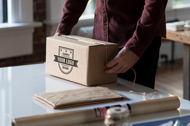 Logo on Cardboard Box Mockup