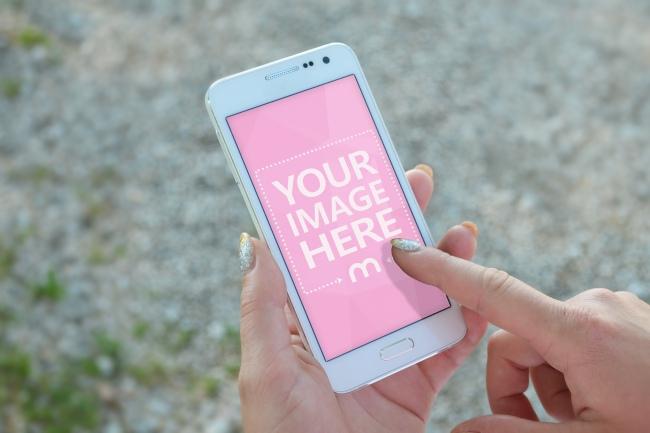 Woman Using White Smartphone Closeup Mockup