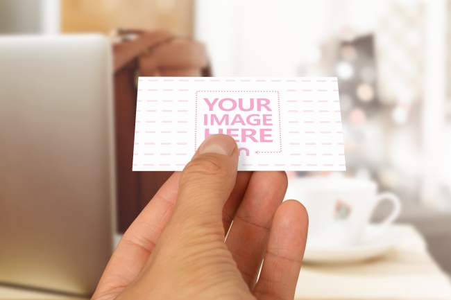 Presenting a Business Card at Lunch Meeting Mockup preview image