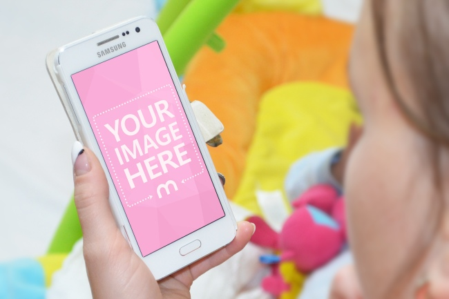 Babysitter Browsing on Smartphone Mockup