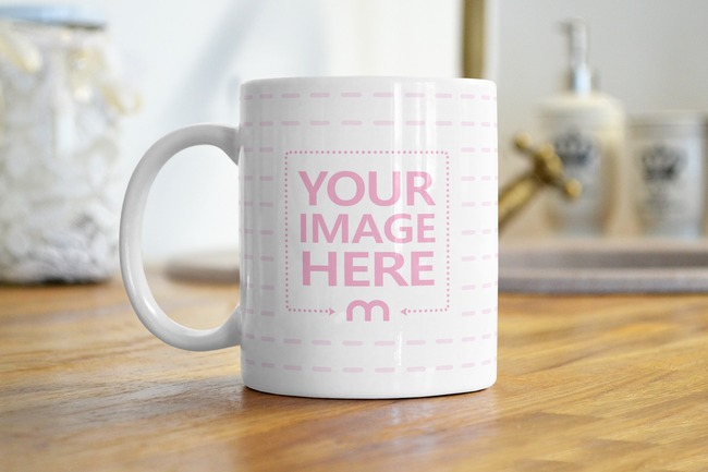 Coffee Mug on Kitchen Surface Mockup preview image
