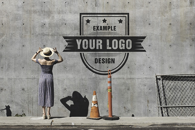 Logo on a Building Wall Mockup Template