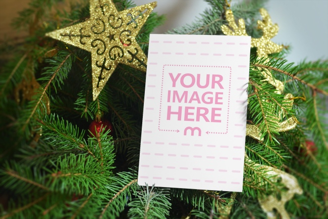 Christmas Card on Tree Mockup Template preview image