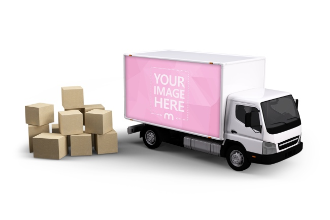 Truck with Boxes Mockup Template