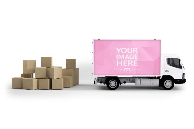 Creative 3D Truck Advertisement Mockup Template