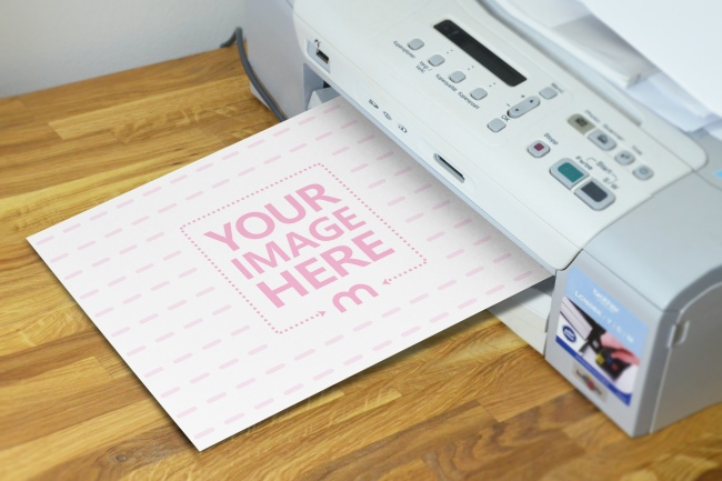 paper being printed online photo effect