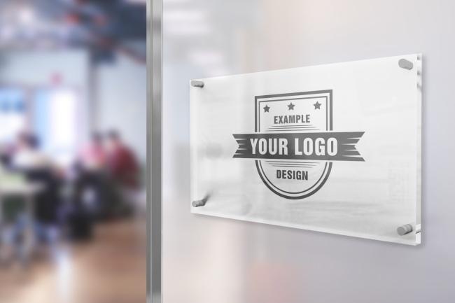 Logo on Office Glass Sign Mockup