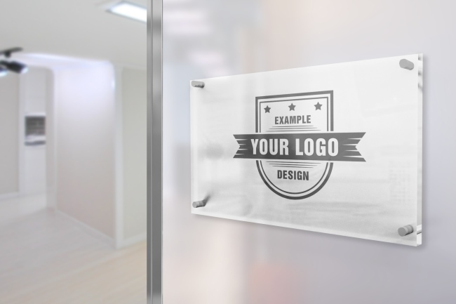 Glass Sign on Office Wall Mockup