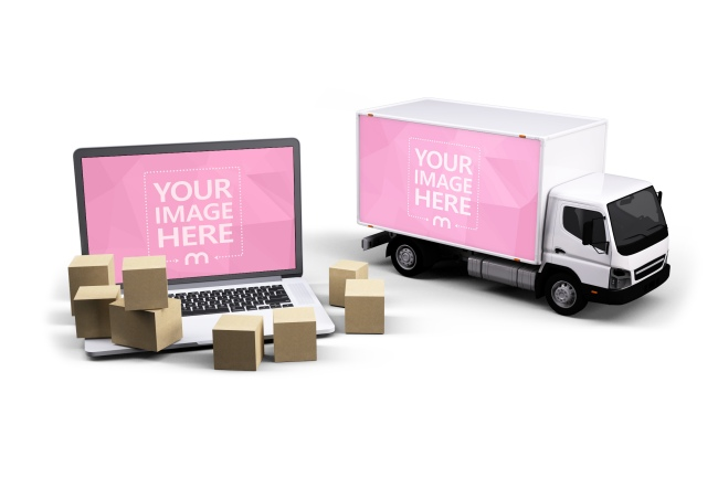 3D Truck and Laptop Mockup preview image