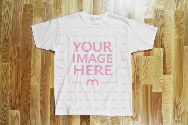 Shirt on Floor Front View Mockup Template preview image
