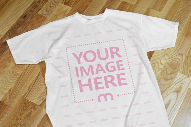 T-Shirt on Floor Realistic Front View Mockup