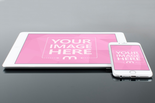 White iPad and iPhone Mockup preview image