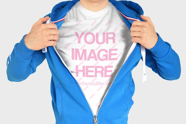 Man Showing T-Shirt Under Hoodie Mockup preview image