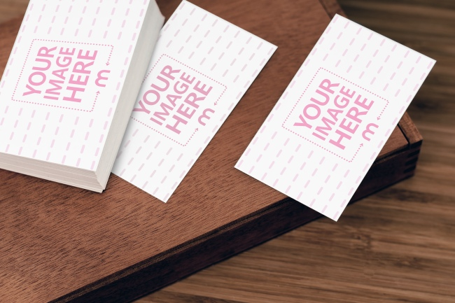 Stack of Business Cards on Table Mockup preview image