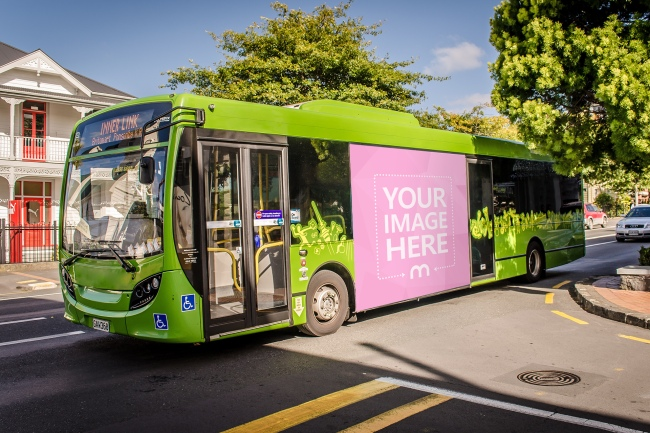 Outdoor Bus Advertisement Mockup Template preview image