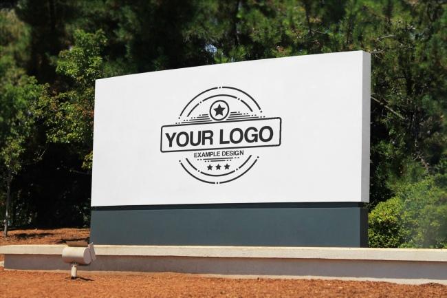Company Logo Outdoor Signage Online Mockup