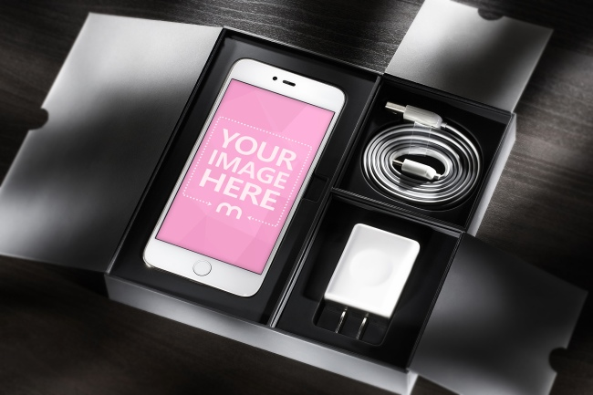 White iPhone in a Box Mockup preview image