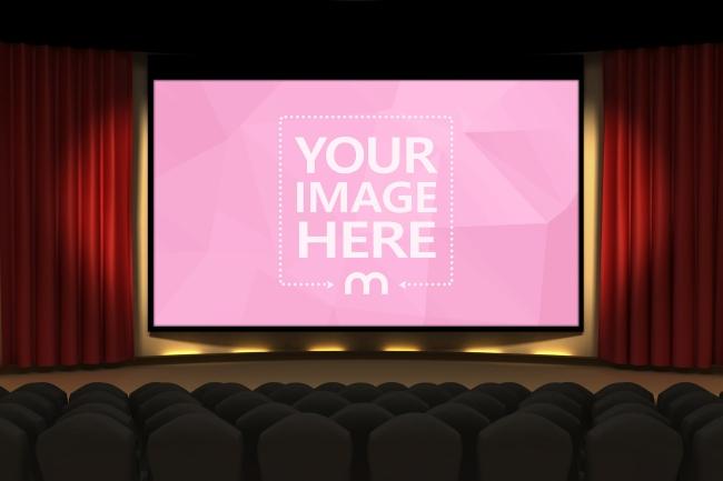 Image on Cinema/Movie Hall Screen Mockup