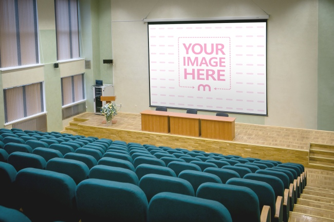 Image on Large Projector Screen Mockup preview image