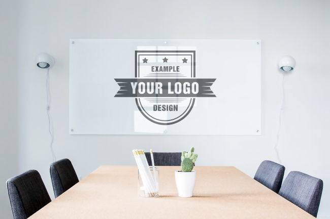 Logo on Company Meeting Room Wall Mockup