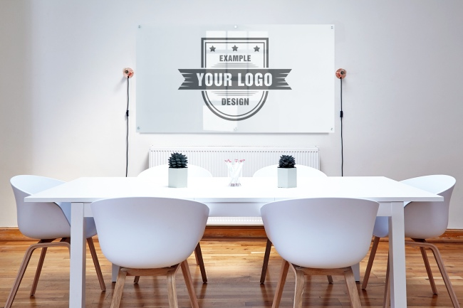 Logo on Office Meeting Room Wall Mockup Generator