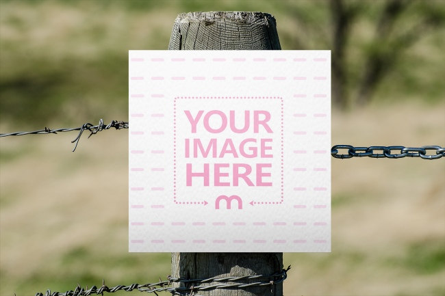 Sign on Old Wooden Post Mockup preview image