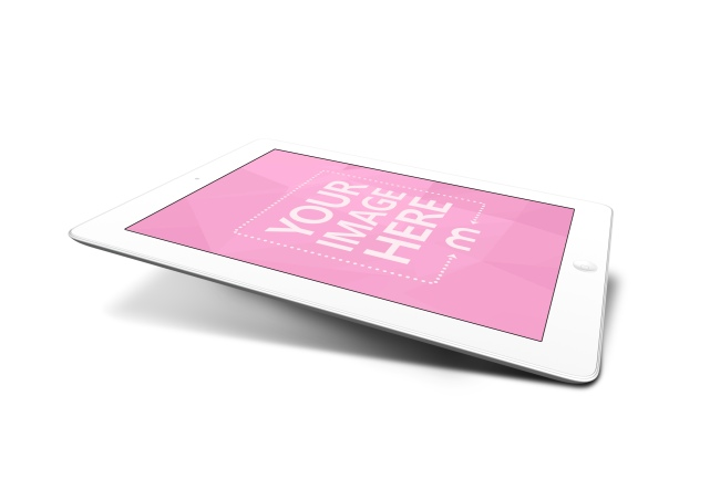 3D White iPad Mockup Template preview image