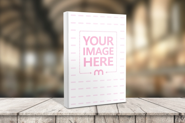 book on wood stand hardcover mockup template