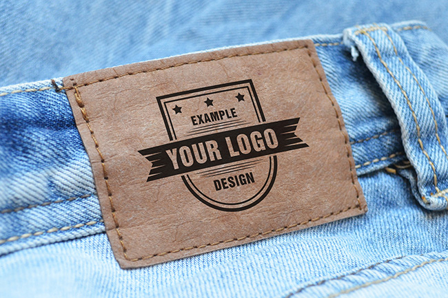 Logo on jeans label free online mockup generator