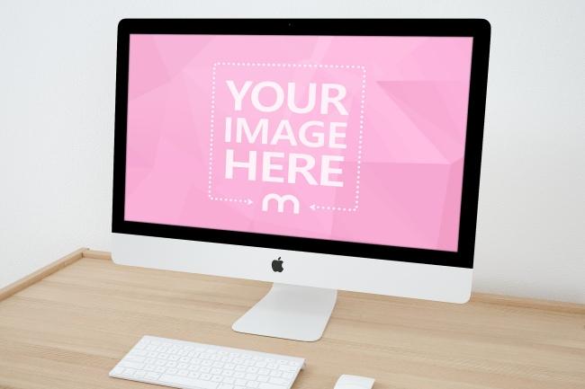 iMac on Wooden Desk Mockup preview image