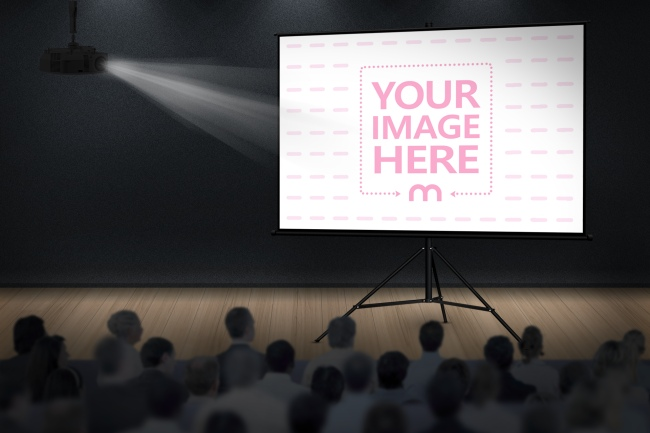 Projector Screen on Stage Mockup Template preview image
