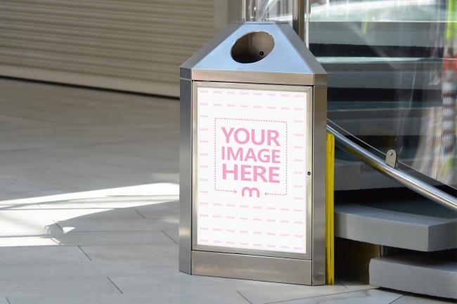 Advertisement on Public Dustbin Mockup