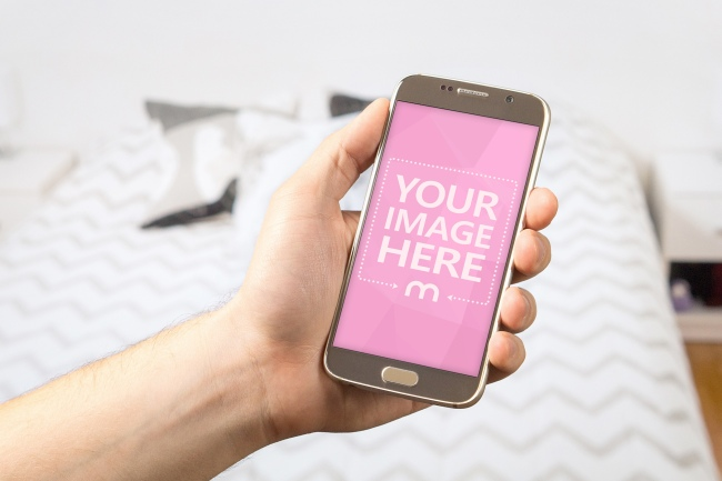 Smartphone on Hotel Room Background Mockup preview image
