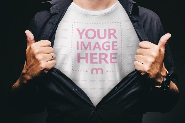 Man Showing T-Shirt Design Mockup