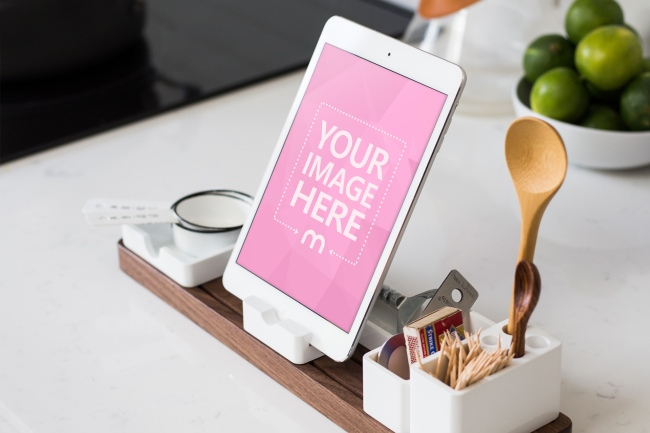 White iPad Mini on a Kitchen Table preview image