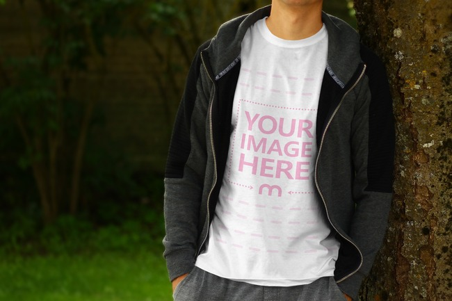Young Model Leaning on a Tree - Front View T-Shirt Mockup
