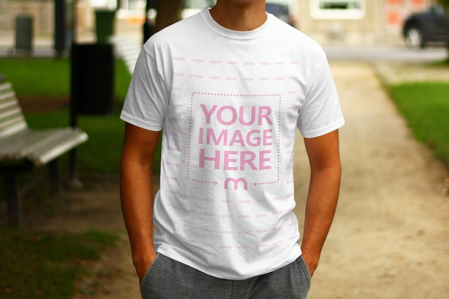 Man Standing with Hands in Pockets - T-Shirt Front View Mockup