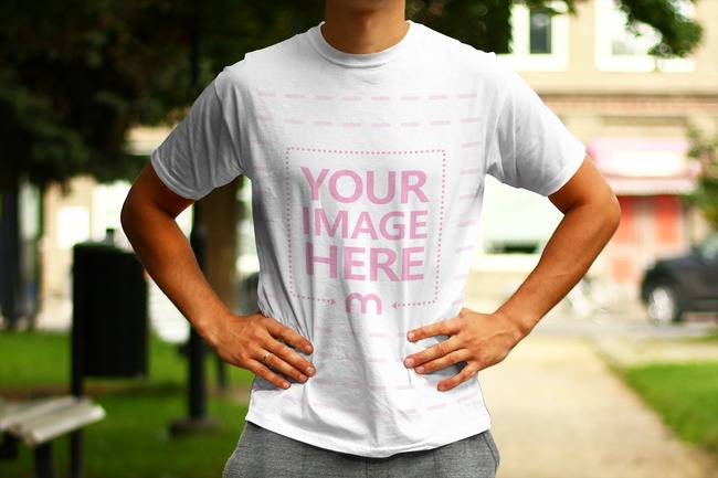 Man Standing on the Street - T-Shirt Front View Mockup preview image