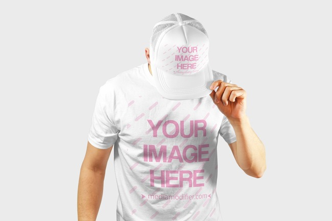 T-shirt and Baseball Hat Front View Mockup Generator preview image