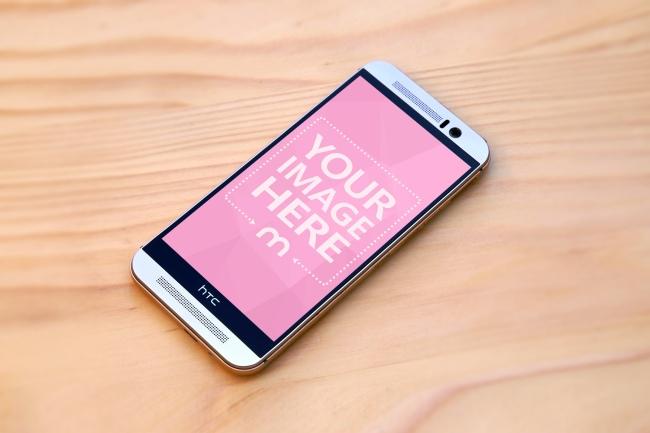 HTC Smartphone on Wood Background Mockup